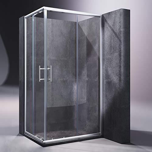 SONNI Neueröffnung 900x700mm Duschkabine Eckeinstieg Doppel Schiebetür Echtglas Duschwand