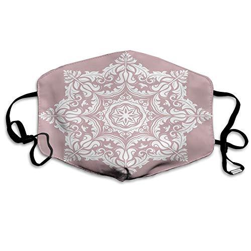 Comoda copertura antivento per il viso,Design Mandala rotondo con composizione tradizionale di petali e fiori,Decorazioni facciali stampate per tutti