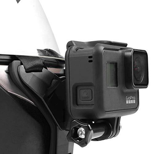 HONMIED Motorrad Helmhalterung, Gebogene Vordere Kinnhalterung mit J-Hook, Action Kamera Halterung, Motorradhelm Kinnhalter, Kamerahalter für DJ/GoPro/Sportkamera