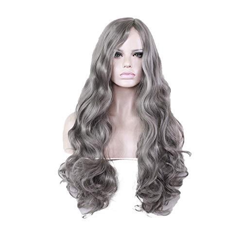ZiWen Lu Grandma Parrucca con capelli lunghi ricci in Europa e America (colore: grigio)
