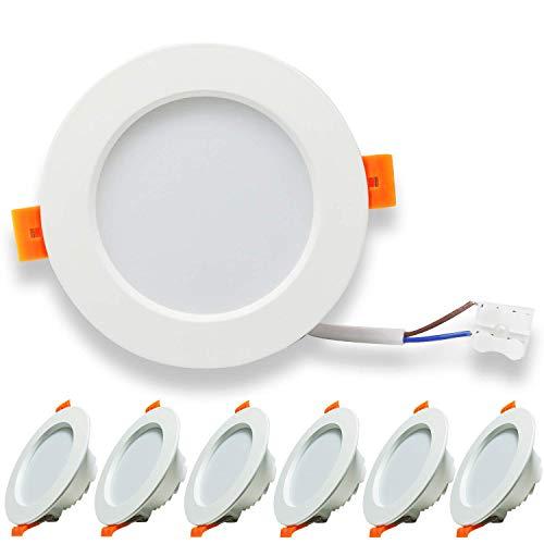 Kimjo Foco LED Empotrable Techo 9W(equivalente 90W), Blanco Frio 6500K 620lm LED Empotrable Techo Redondo, 37mm Ultraslim Lámpara de Techo, AC 185V-260V, para Dormitorio Sala de Estar Cocina 6 Pack