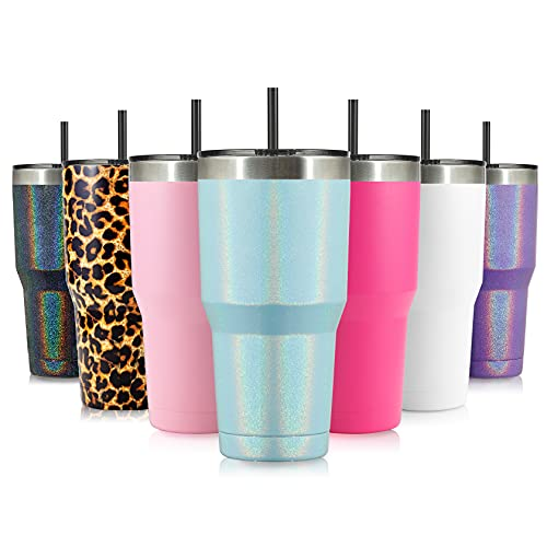 Zibtes 30oz Insulated Tumbler With Lids and Straws, Stainless Steel Double Vacuum Coffee Tumbler Cup, Powder Coated Travel Mug for Home, Office, Travel, Party