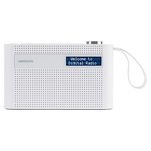 MEDION P66007 tragbares DAB+ Radio (DAB Plus, UKW, Bluetooth, 60 Senderspeicher, dimmbares Display, integrierter Akku, Teleskopantenne) weiß