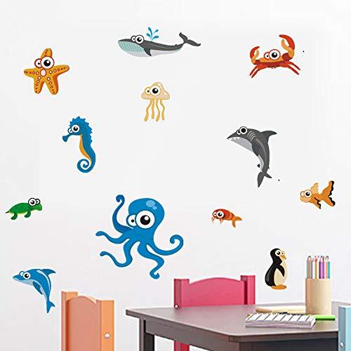 Muursticker om zelf zeedieren te maken, zelfklevend fotobehang voor slaapkamer, school, kleuterschool, voor kinderen, milieuvriendelijke stickers van PVC, 28 x 28 cm