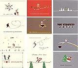 Weihnachtspostkarten Set 12 Stück Weihnachten Grußkarten Goldprägung...