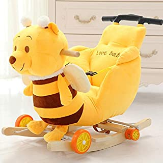 Little Yellow Bear Rocking Horse for Kids Plush Kids Trolley with Music Boy&Girl Tie Rod Plush Rocker Toys Removable And W...