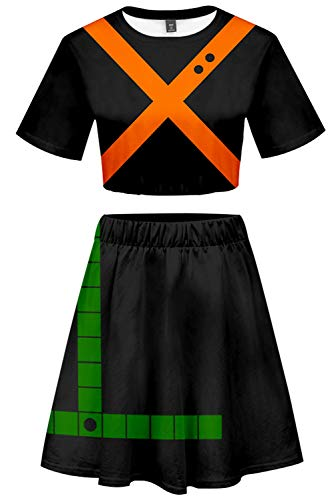 My Hero Academia Cosplay Bakugou Katsuki Kostüm Cheerleader Cheerleading Uniform Crop Top Rock Set M