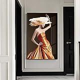 Gymqian Vestido Moderno Mujer Lienzo Arte Pintura Modelo de Moda Carteles e Impresiones Sala de Estar Dormitorio decoración...