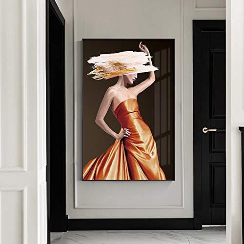 Gymqian Vestido Moderno Mujer Pintura Modelo de Moda Carteles e Impresiones Arte de la Pared Imágenes Sala de Estar Dormitorio Decoración del hogar Mural-65x100cm Sin Marco