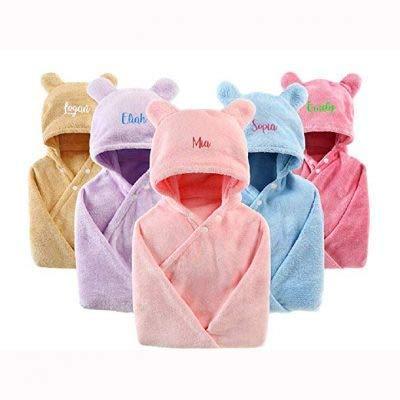 Albornoz con capucha personalizable para bebés y niños,