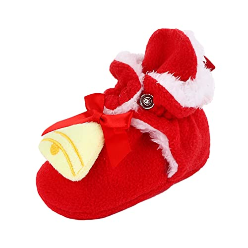 YQSR Zapatillas de bebé con botón de presión para invierno, para casa de Papá Noel de peluche para bebé o niña