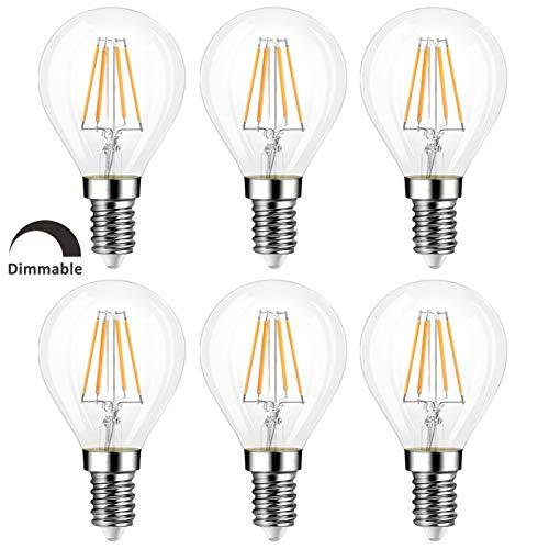 Glühbirne E14 G45 LED Tropfenform Dimmbar Warmweiß 2700K, Retro Stil, 400LM, 4W Ersetzt 40W Glühlampe, Klein E14 LED Filament Lampe P45 Warmweiss Dimmbar für Esstischlampe/Deckenlampe, 6er-Set