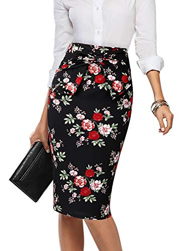 VFSHOW Womens Black and Multi Floral Print Pleated Bow High Waist Slim Work Office Business Pencil Skirt 2396 FLW 3XL