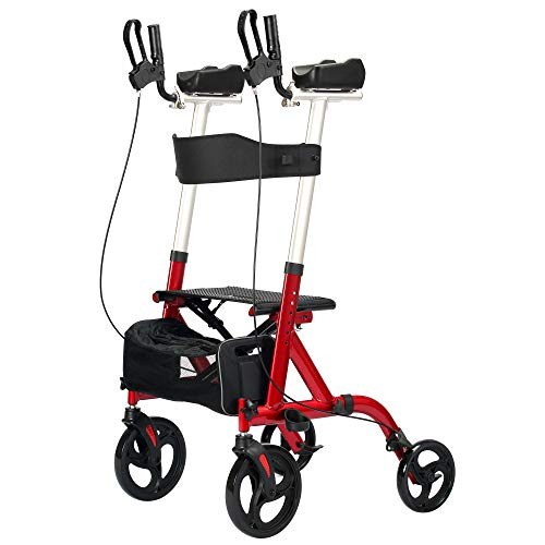 FreeAction Large Wheel Rollator Walker, Rolling Walker with Seat, Walkers for Seniors with Seat and Armrest, Stand Up Folding Rollator Mobility Walking Aid with Backrest and Armrest for Elderly