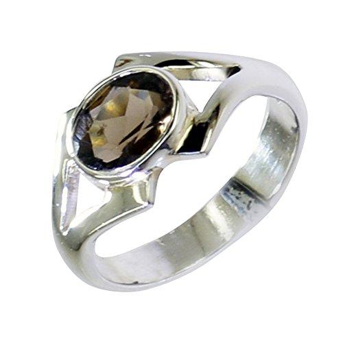 Jewelryonclick Real Rauchquarz Chakra Healing Womens Erklärung Ringe 925 Silber Geburtstag Schmuck Geschenk Q