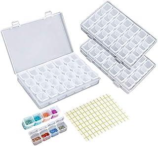 Terokota 3Pack 28 Grids Diamond Art Storage Containers Embroidery Diamond Painting Box Diamond Beads Drills Organizer Case...