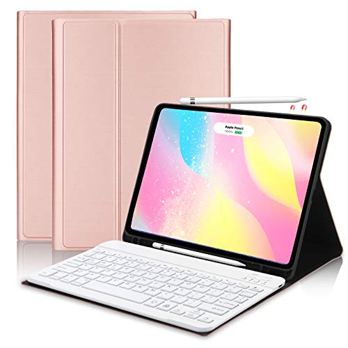 FOGARI Keyboard Case for New iPad Air 4th Generation 2020, Smart Folio Cover with Bluetooth Keyboard for iPad 10.9' & Pro 11', Built in Pencil Holder [Support for Apple Pencil 2 Charging] -Rose Gold