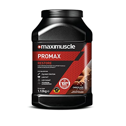 Maximuscle Promax Powder   Restore Whey Concentrate Protein Powder for Muscle Growth and Development   Chocolate, 1.12kg - 32 Servings