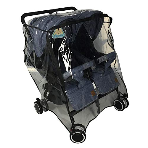 Twins Stroller Raincoat for Side by Side Stroller Weather Shield, Double Stroller Rain Cover/Wind Shield/Dust Cover