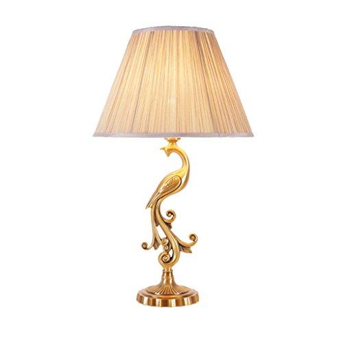 GUOJINE Lampes De Lecture Lampe De Table Américaine Chambre Lampe De Chevet Mode Jardin Bureau Lumière Salon Chambre Livre Lumières s'allume Décoration Cuivre Lampe De Bureau Pure Cuivre Villa Chaude