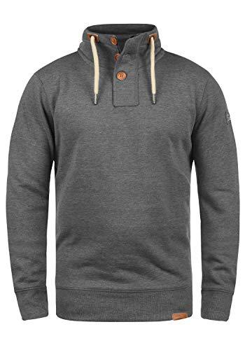 !Solid TripTroyer Herren Sweatshirt Pullover Troyer Pulli Mit Stehkragen Und Knopfverschluss, Größe:L, Farbe:Grey Melange (8236)