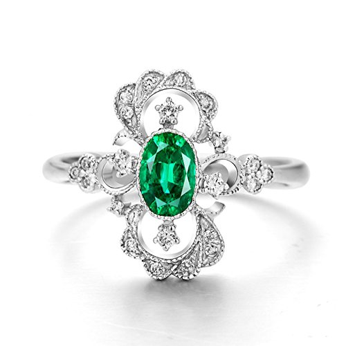 DOLOVE 18K White Gold Rings for Women Diamond Green Emerald Ring Vintage(0.578ct) Wedding Rings Women Ring Size N 1/2
