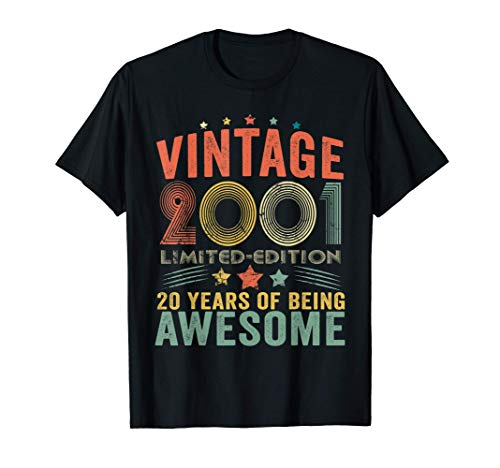 Vintage 2001 Limited Edition 20th Birthday 20 Year Old Gifts T-Shirt