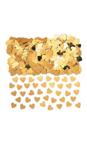 Amscan INT37009-19 - Konfetti Sparkle Hearts, gold, Folie, 14 g, Streudeko, Tischdekoration, Valentinstag, Hochzeit, Geburtstag