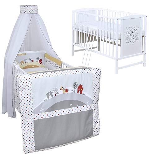 Baby Delux Babybett Komplett Set Kinderbett Mia weiß 120x60 Bettset Matratze in vielen Designs (Farm)