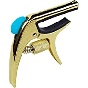 Guitar Capo Buzz-free Tri-action Clamp with Tension Adjustment for Electric Guitar & Acoustic Guitar Integrated Pick Holder (GGC-02 Gold)