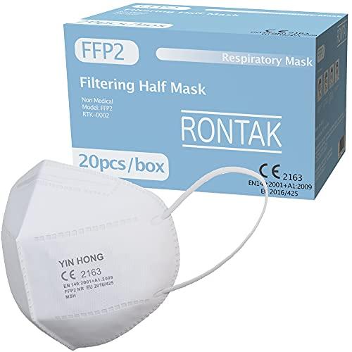 Rontak Mascarilla FFP2 | 5 Capas | Talla Única | Mascaras Protectoras Desechables | Transpirables y Plegables (20 Unidades, Blanco)