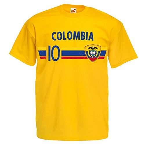 Fußball WM T-Shirt Fan Artikel Nummer 10 - Weltmeisterschaft 2018 - Länder Trikot Jersey Herren Damen Kinder Kolumbien Colombia L