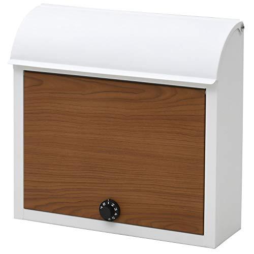 山善 メールボックス ポスト ダイヤルロック式 幅38×奥行12×高さ37cm (郵便ポスト/宅配ボックス) 壁付け ホワイト/キャメル WP1603D(WH/WD)
