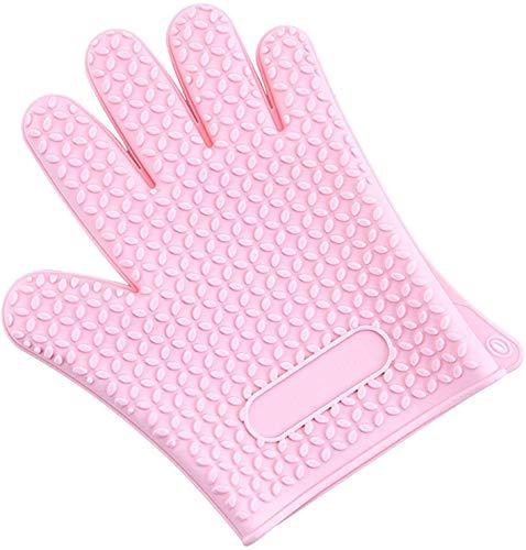 DIAK Wasserdicht Ofenhandschuhe,Hitzebeständige Bis Zu 500℉ Topflappen rutschfest Mikrowelle Handschuhe Flexibel Küchenhandschuhe,B-rosa