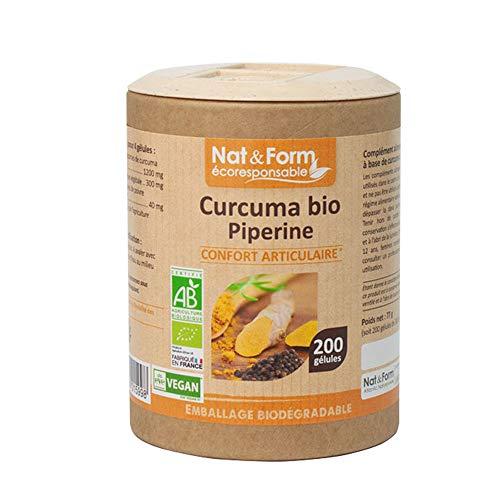 Nat & Form - Complément Alimentaire - Curcuma Piperine Bio - 200 gélules