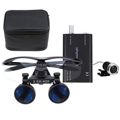 Bestlife 3.5x420mm DentaL Medical Binocular Loupes with Head light Lamp (Black),