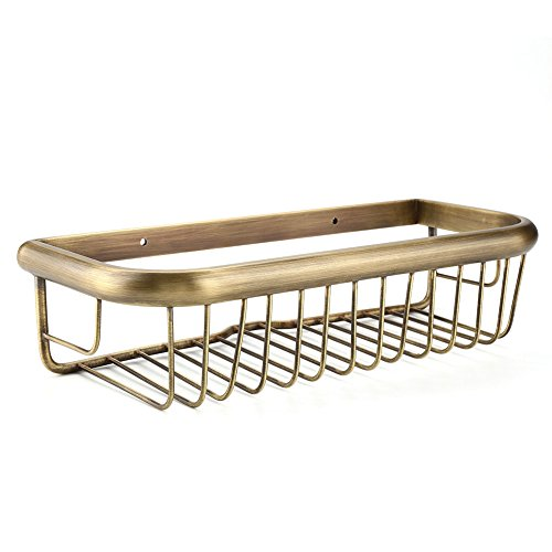 Hakeeta douchebak, 30 cm lang, van massief koper, krasbestendig, wandhouder, douchemand, badkamer-doucheplank, roestvrij, retro, voor badkamer en keuken