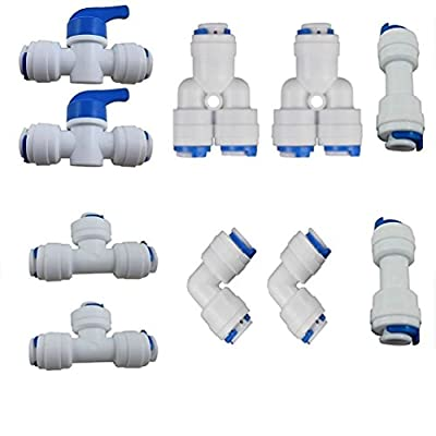 Lemny 1/4 inch OD Quick Connect Push In to Connect Water Tube Fitting Pack Of 10 (Ball Valve+Y+T+I+L Type Combo) from Lemoy