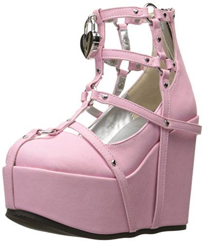 Demonia Women's Poi25-2/pnvl Ankle Bootie, Pink Vegan Leather, 8 M US