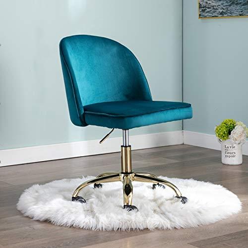 Wahson Silla de oficina de terciopelo sin brazos giratoria de 360 ° para ordenador de altura ajustable, silla de escritorio para oficina en casa, Azul verdoso