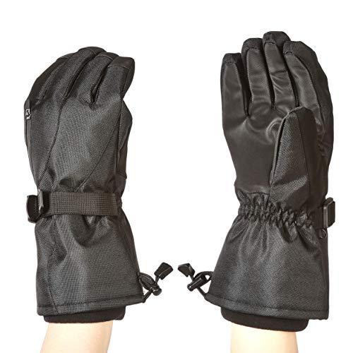 Amazon Basics - Guantes de esquí impermeables, negros, talla M