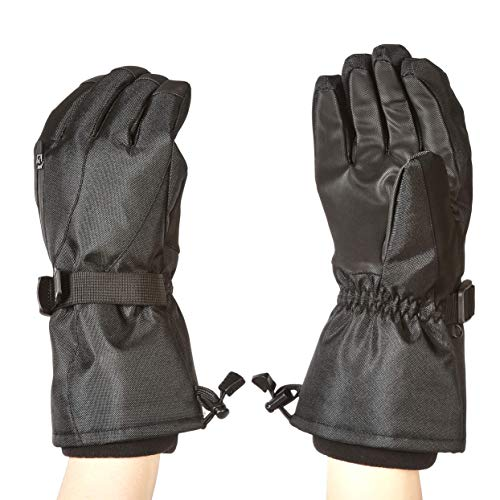 Amazon Basics - Guantes de esquí impermeables, negros, talla XL