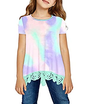 storeofbaby Girl Loose Fit Short Sleeve Crewneck T Shirt Fahsion Summer Top Kid