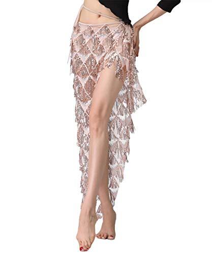 ZooBoo Bauchtanzkleid für Ballsaal, Tanzkleid, modern, glatt, Walzer, Tango, Party, Lateinamerikanischer Rock, Kostüme für Frauen - Beige - Einheitsgröße