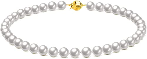 high quality Mallofusa 8mm Round 2021 White Shell Pearls Choker Necklace Strand Pendant Handmade Jewelry for Women Girls 2021 Birthday Gift Idea-Golden Color Clasp outlet sale