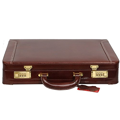 HYATT Leather Accessories Expandable 18 Inch Men's Leather Briefcase Office Bag with Golden Lock (Brown)