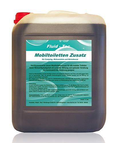 Fluid-Tec 5 Liter Kanister Mobiltoiletten Zusatz Konzentrat Sanitärflüssigkeit für Campingtoilette Chemietoilette Abwassertank - für bis zu 1000 Ltr. Abwasser Plus Auslaufhahn