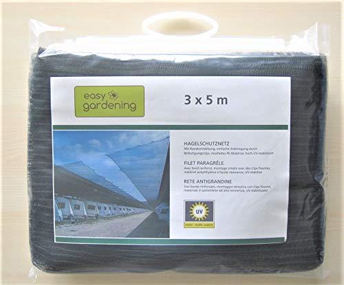 Easy Gardening filet paragrêle, Taille: 3 x 5 m, maille 3 x 7 mm, coleur noir, robuste