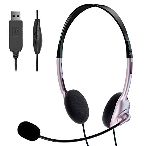 TINGDA USB Headset, PC Headset mit Mikrofon Noise Cancelling & Lautstärkeregler, Computer Chat Headset für Skype Webinar, Homeoffice, Gaming, e-Learning und Musik, Call Control, Ultra Komfort-Roségold
