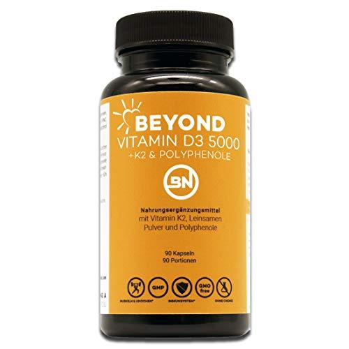 Beyond Vitamin D3 5000 + K2 Jahresvorrat mit Leinsamen Pulver und natürlichen Antioxidantien, 90 kleine Kapseln, hochdosiert - ohne Zusatzstoffe - Laborgeprüft